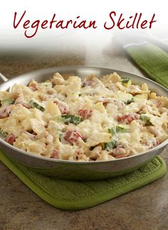 For your next Meatless Monday, try our easy Vegetarian Lasagna Skillet! Combine pasta, zucchini, beans and tomatoes in a skillet with a creamy white sauce and cheese for this ready in 30 minutes dinner.