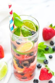 Warning: This Blueberry Strawberry Mojito is so good, you'll need to prepare multiple pitchers for your guests.