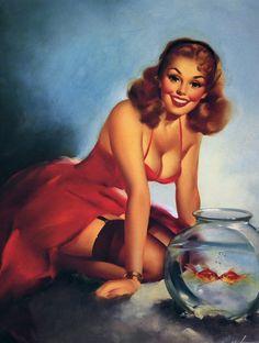 "Pinup Girl and Kissing Fish | Tattoo Ideas & Inspiration - Pinups | Edward Runci Pin-Up Art - ""A Perfect Pair"", 1950"
