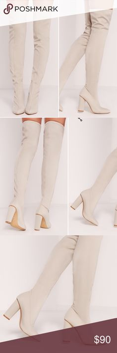 "MISSGUIDED NIB white cream thigh high boot Brand new never worn. With elastic top and pointed almond toe, block heel 3"" Missguided Shoes Over the Knee Boots"