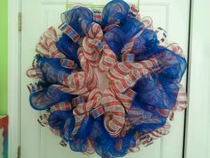 Patriotic wreath made with geo mesh