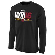 Miami Heat Black 2016 NBA Playoffs Win '16 Long Sleeve T-Shirt