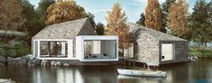 Forma domu na Mazurach projektu studia LOMO Design była inspirowana głazami narzutowymi. Bryła nawiązuje do architektury skandynawskiej. Użycie kamiennej okładziny na dachach i ścianach pozwoliło wpisać budynek w malownicze otoczenie.