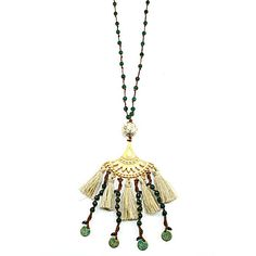 Handmade bohemian style necklace with tassels