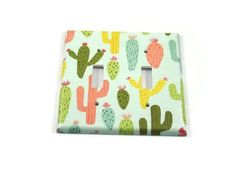 Double Switch Plate Light Switch Cover Pastel Cacti (155D)