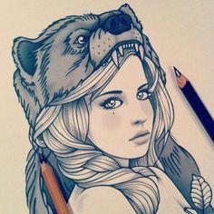 belo desenho de menina com cabeça de urso