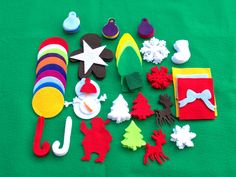 Add on Ornaments//Christmas felt tree//extra Ornaments//felt kids Christmas tree Felt Ornaments, Christmas Tree Ornaments, Christmas Lights, Christmas Decorations, Green Christmas, Felt Christmas, Christmas Presents For Kids, Felt Kids, Felt Tree