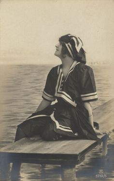 Stylish beachwear or BATHING COSTUME,  as it was called. [A European style] The term swim ware is not used. c. 1900