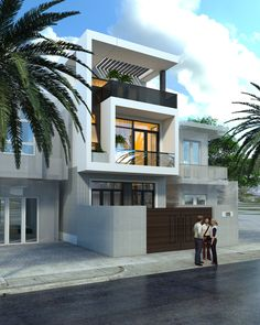 Street house of Mr.Thang - Another! Narrow House Designs, Narrow Lot House Plans, Building Elevation, House Elevation, 3 Storey House, Modern Villa Design, Townhouse Designs, Duplex House Plans, Home Building Design