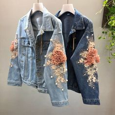 Ladies Embroidered Flowers Pearl Beads,Good ideas for lovely embroidery By embroidering wonderful designs, small figures or wonderful borders, DIY fashion makers may style their own style c. Coats For Women, Jackets For Women, Denim Ideas, Floral Denim, Denim Coat, Jacket Jeans, Fur Jacket, Denim Fashion, Fashion Shirts