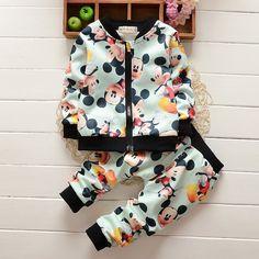 New Autumn Spring Tracksuit Girls Sports Suits Kids Clothes Zipper Sweatshirt Jogging 1-4T Children Boys Cartoon Clothing Sets