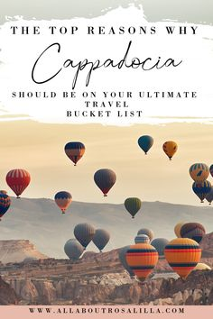Why Cappadocia Turkey, should be on everyone's bucket list. All About RosaLilla will help you discover Goreme and the fairy chimneys. Ride a hot air balloon in Cappadocia and see the town's best attractions. Where to stay in Cappadocia | Cappadocia Turkey caves | Cappadocia Turkey hot air balloon | Cappadocia travel guide | Cappadocia itinerary | Things to do in Cappadocia Turkey | #cappadociaturkey #capadocia #wheretostaycappadocia #goreme Europe Travel Guide, Travel Guides, Travel Destinations, Travel Pictures, Travel Photos, Capadocia, Visit Turkey, Cappadocia Turkey, Turkey Travel