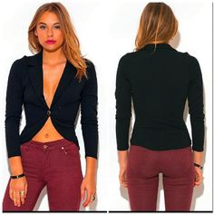 Single Button Blazer #386-S One button deep V Neck blazer. 96% polyester 4% spandex. Made in USA Jackets & Coats Blazers