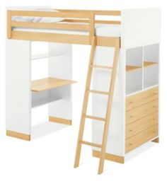 Room & Board | Moda Loft Bed with One End Desk and One Four-Drawer Dresser in Wood in Maple