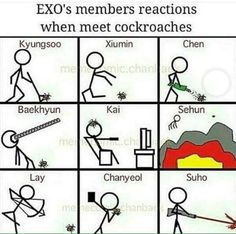 This K-Pop Fan Drew A Hilarious Cartoon Of Each #EXO Member's Reaction To Cockroaches