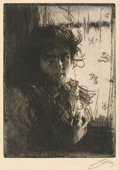 Anders Zorn, An Irish Girl, 1894, Etching.