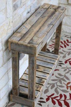 """36 """"Lamellenkonsole # Lamellenkonsole – Holz DIY Ideen – Famous Last Words Wooden Pallet Projects, Wooden Pallet Furniture, Wooden Pallets, Rustic Furniture, Furniture Ideas, Diy Pallet Table, Furniture Design, Pallet Wood, Cheap Furniture"""