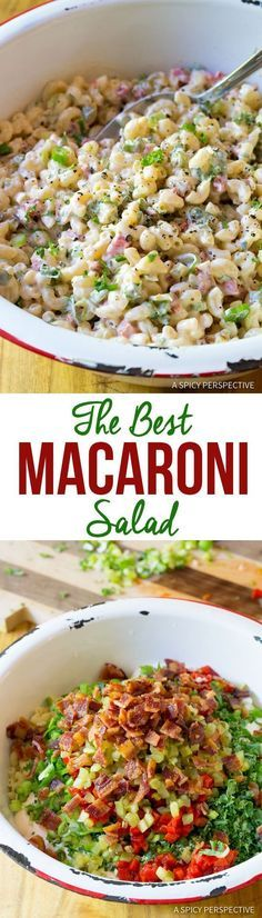 Truly The Best Macaroni Salad Recipe | ASpicyPerspective... Macaroni Salads, Healthy Macaroni Salad, Summer Macaroni Salad, Elbow Macaroni Recipes, Summer Pasta Dishes, Best Pasta Dishes, Best Pasta Salad, Summer Pasta Salad, Summer Side Dishes