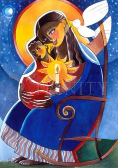 "Mary, Seat of Wisdom | Catholic Christian Religious Art - Artwork by Br. Mickey McGrath, OSFS - From your Trinity Stores crew, ""Hail Mary full of grace…"""