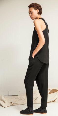 Look 16: High V Cutaway Top in Black // Crossover Trouser in Black
