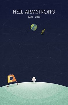 A lovely illustration by Nico Encarnacion as tribute to Neil Armstrong, the first man on the moon. One Small Step, Neil Armstrong, Apollo 11, Man On The Moon, To Infinity And Beyond, Space Exploration, Vintage Design, Geek Culture, Science Nature