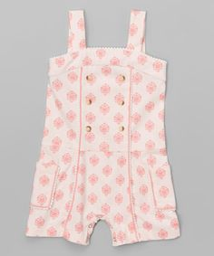 Look at this Pink Wallpaper Scalloped Organic Romper - Infant & Toddler on #zulily today!