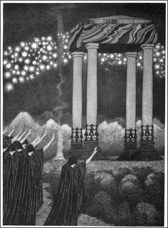 "Sidney Sime - The Tomb of Zai - 1906 Illustration for ""Time and the Gods"" by Lord Dunsany. Kilian Eng, Monochrome, Victorian History, Surreal Art, Ink Art, Macabre, Occult, Art For Sale, Psychedelic"
