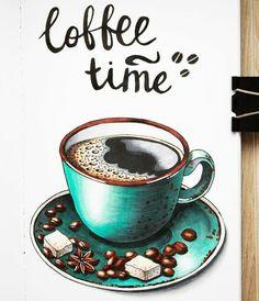 Kaffee # Food and Drink art caffeine Marker Kunst, Copic Marker Art, Copic Art, Sketch Markers, Food Drawing, Painting & Drawing, Coffee Artwork, Watercolor Food, Coffee Drawing