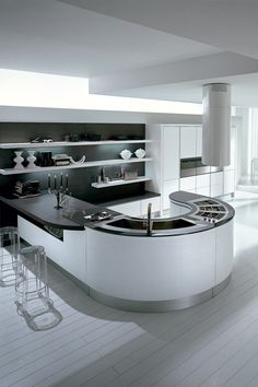 Cozinha lacada com península Coleção Integra by Pedini