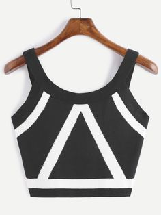 Contrast Trim Crop Knit Tank Top — € -----------------------color: Black size: one-size Crop Top Outfits, Casual Outfits, Classy Party Outfit, Pretty Outfits, Cute Outfits, Look Fashion, Fashion Outfits, Summer Crop Tops, Knitted Tank Top