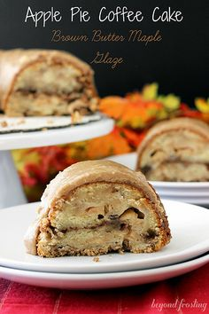 Apple Pie Coffee Cake with Brown Butter Maple Glaze | beyondfrosting.com #fall #Thanksgiving #brunch