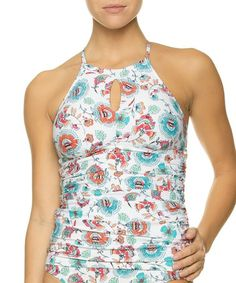 d621ff3b67909 Look what I found on #zulily! White & Pink Bali Racerback Tankini Top # zulilyfinds