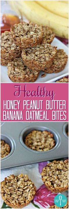 Healthy Honey Peanut Butter Banana Oatmeal Bites – A hearty, delicious on-the-go snack or breakfast treat that just happens to be good for you! Healthy School Snacks, Healthy Meals For Two, Health Snacks, Vegan Snacks, Sin Gluten, Slimming World, Quinoa, Oatmeal Bites, Snack Recipes