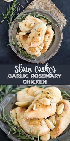 Slow Cooker Garlic Rosemary Chicken - healthy (gluten free, paleo) crock pot chicken recipe. My family loves this for dinner!
