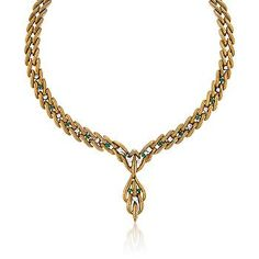 """Ross-Simons - C. 1970. Vintage 1.00 ct. t.w. Diamond and .85 ct. t.w. Emerald Necklace in 18kt Yellow Gold. 16"""" - #773945"""