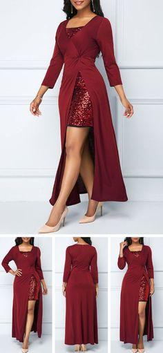 Sequin Embellished Wine Red Dress and Side Slit Dress.Get a festival wardrobe fr Pretty Outfits, Pretty Dresses, Beautiful Dresses, Cool Outfits, Winter Skirt Outfit, Skirt Outfits, Wine Red Dress, Dress Red, Red Wine