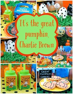 Kids will go crazy over this Great Pumpkin Charlie Brown Party on www.prettymyparty.com.