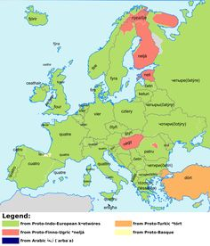 """Map of the Word """"Four"""" in Various European Languages"""