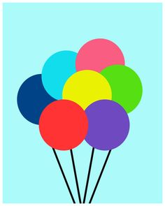 #flat #design #poster: Up Balloons deconstructed illustrated di TheBellaPrintShop