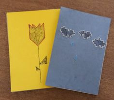 Winter and Spring. Handmade notebooks. Recycled paper. Embroidery and doodles on the cover