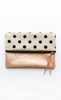 Fold Over Clutch Pink Blush Leather Clutch Polka Dot by TwoTickets