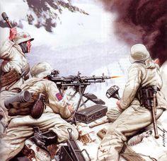 Ametralladora de la División Azul, batalla de Krasny Bor 10 Febrero 1943. Más en www.elgrancapitan.org/foro/
