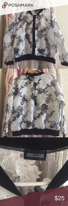 Sheer Floral Bomber Jacket Used once. No tags attached. Size is medium. See zipper photo to see flaw. It just needs a bit of sewing. Love Culture Jackets & Coats