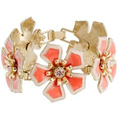 Flower patch bracelet ($68) ❤ liked on Polyvore featuring jewelry, bracelets, accessories, bracelets/watches, pink, women, pink jewelry, flower jewellery, blossom jewelry and vintage flower jewelry