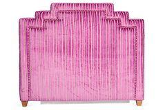 One Kings Lane - Emily Henderson - Pink Velvet Striped Headboard
