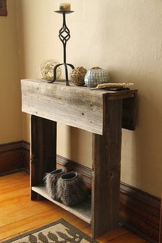 Barnwood Entry Table, Reclaimed Wood Table, Entry Way, Shoe Holder, Mudroom Organizer, Farmhouse Entry Table, Console Table, Table = $99 by hmjeane
