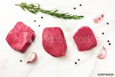 Three slices of raw meat with seasoning and copyspace - Buy this stock photo and explore similar images at Adobe Stock Meat Markets, Ricotta, Roast, Fruit, Blog, Image, Ideas, Products, Blogging
