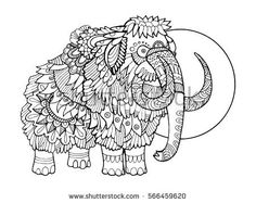 Mammoth coloring book raster illustration. Anti-stress coloring book for adult. Tattoo stencil. Black and white lines. Lace pattern