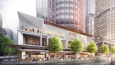 It will be a big win for foodies on the eat streets of Baranga-chew: The biggest food hub Australia has ever seen- The three stories of this Tony Caro-designed building at West will feature glass boxes Commercial Complex, Commercial Street, Commercial Design, Retail Architecture, Commercial Architecture, Modern Architecture, Mall Facade, Retail Facade, Shopping Street