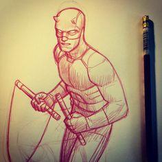Daredevil Season 2 is a ton of geeky fun. Brutal, touching and full of wacky ninja hijinks. An amazingly weird tonal balancing act. Comic Book Artists, Comic Artist, Comic Books Art, Batman Comic Art, Marvel Art, Superhero Art Projects, Daredevil Art, Character Art, Character Design